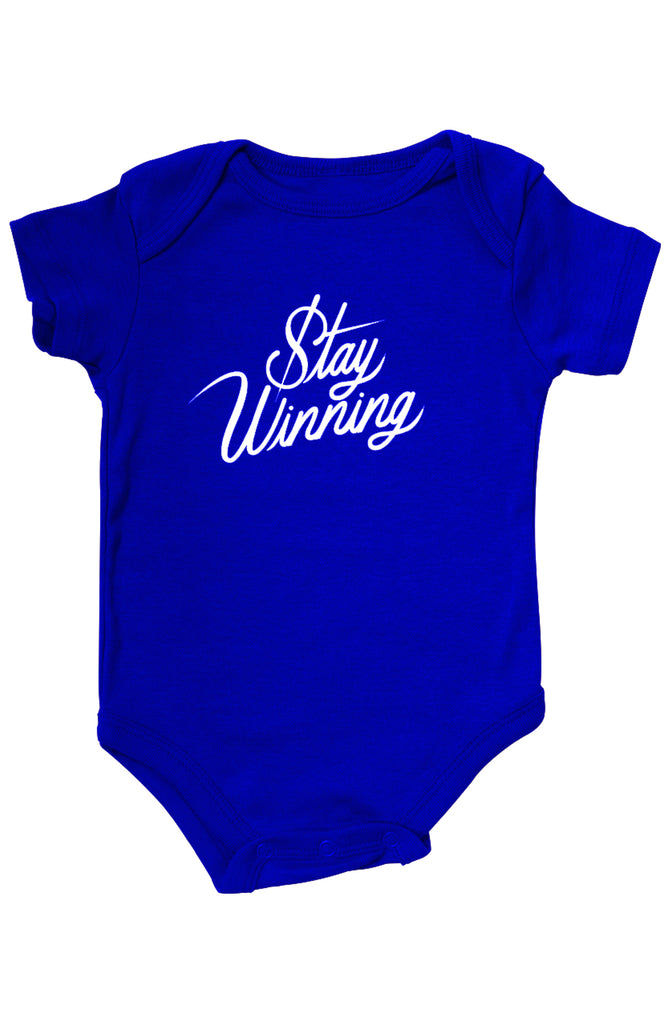Stay Winning Royal Blue Infant Onesie