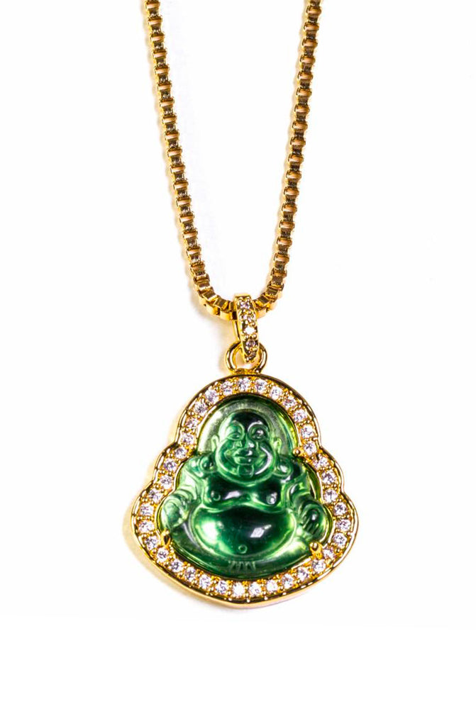 Gold Iced Out Green Buddha Necklace