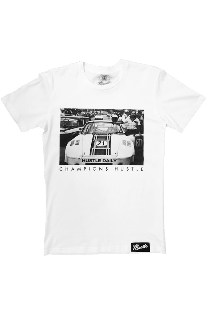 Hasta Muerte Hustle Race Car White Tee