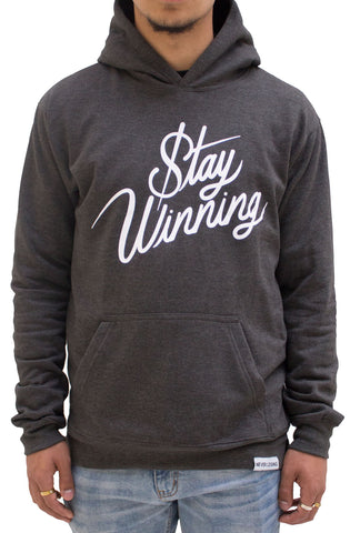 Stay Winning Charcoal Script Cordless Hoodie