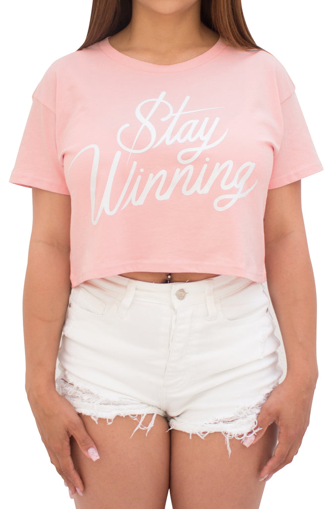 Stay Winning Pale Pink Crop Top Tee
