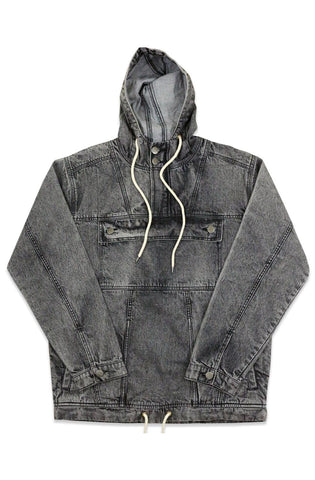 Ethik Black Acid Washed Denim Anorak Jacket