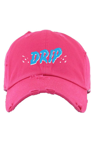 "Planet Of The Grapes Pink ""Drip"" Dad Hat (Light Blue)"