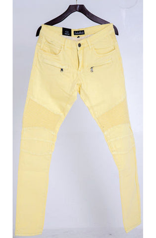Embellish Pastel Yellow Biker Denim