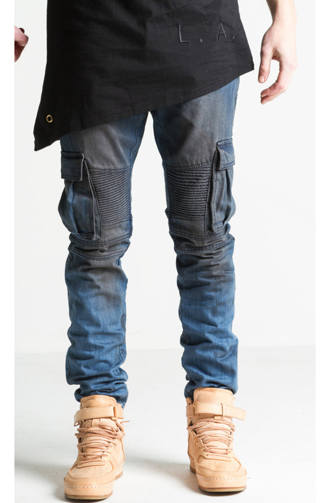 Embellish Charger Cargo Blue Vintage Wash Biker Denim