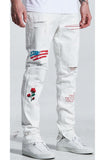 Embellish Paint N' Roses Standard Denim (White)