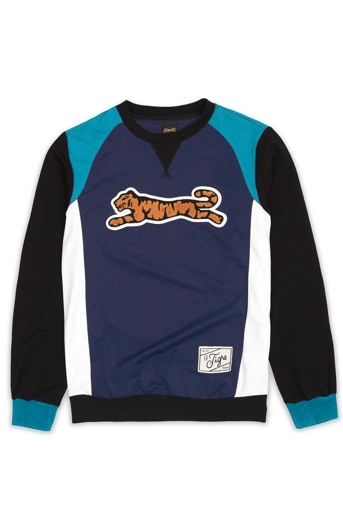 Le Tigre Retro Logo Crewneck Sweater (Black/Teal/Navy)
