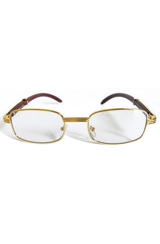 Roial Square Carter Wood Glasses (Gold)
