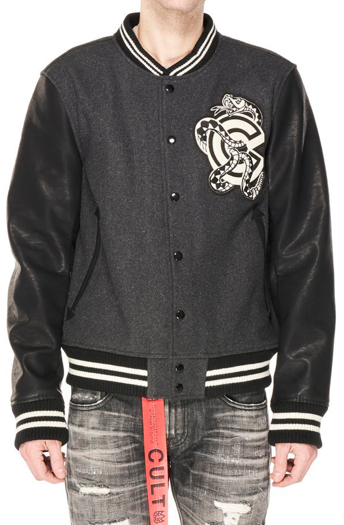Cult Of Individuality Varsity Jacket In Charcoal