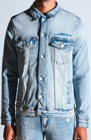 Crysp Bering Denim Jacket (Light Distressed Indigo)