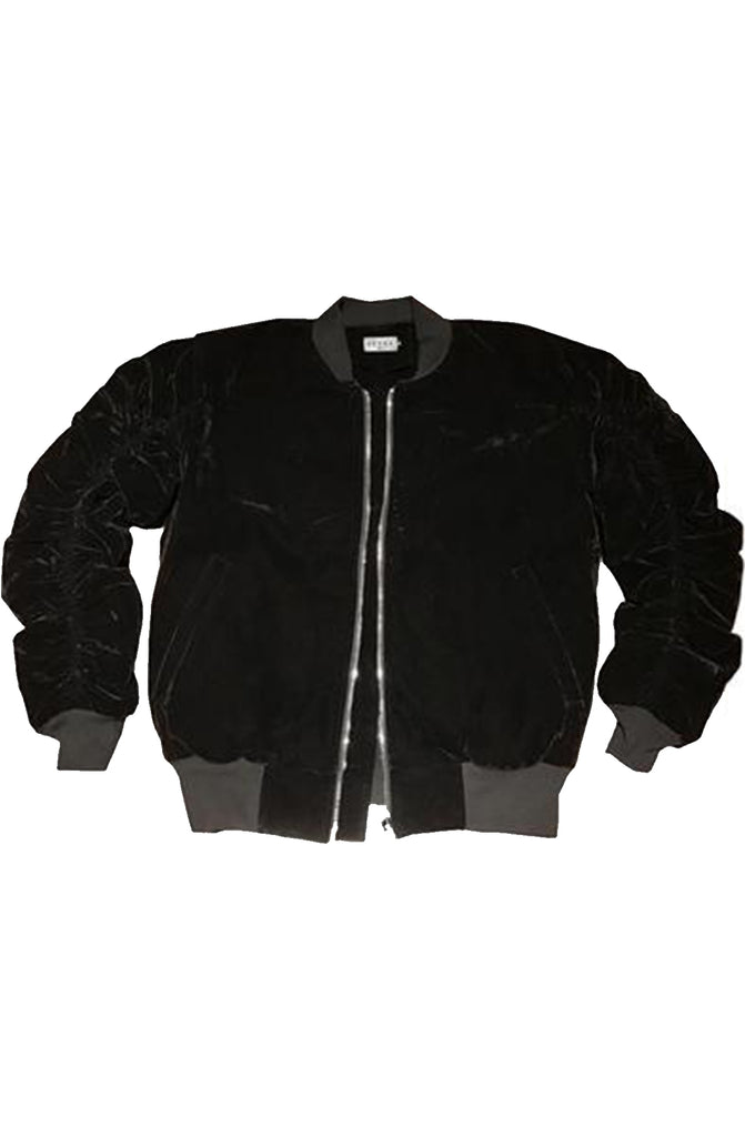 Reves Paris Onyx Black Velour 2.0 Bomber Jacket