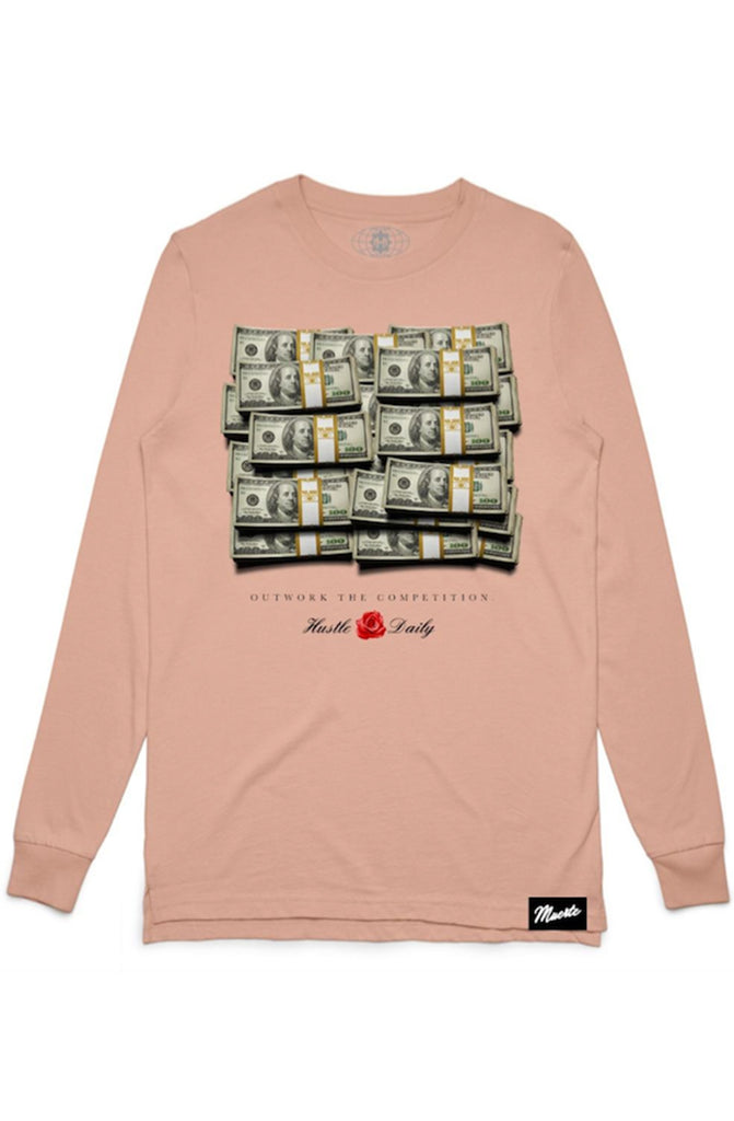 Hasta Muerte Cash Stacks Pale Pink Long Sleeve