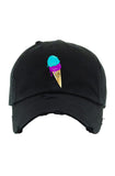 Planet Of The Grapes Black Ice Cream Dad Hat (Aqua/Purple)