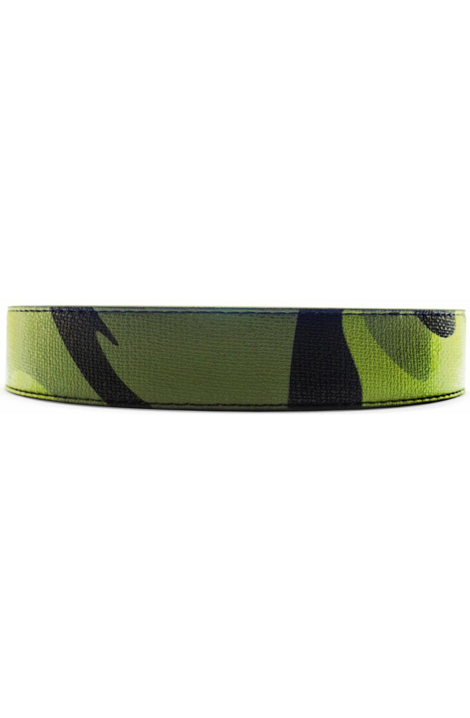 Mint Camo Leather Belt in Olive Black