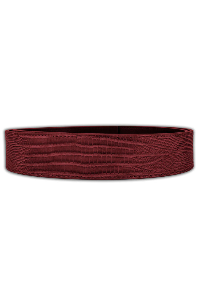 Mint Lizard Leather Belt (Burgundy)