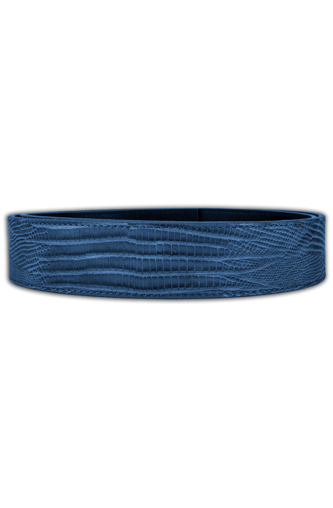 Mint Lizard Leather Belt (Navy)