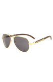 Roial Carter Aviator Wood Sunglasses (Gold)