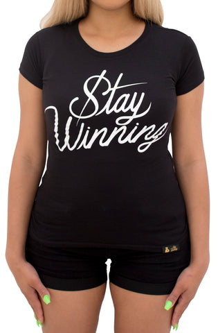 Stay Winning Black Women's Script Tee