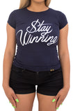 Stay Winning Navy Women's Script Tee