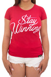 Stay Winning Red Women's Script Tee