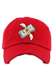 Planet Of The Grapes Flying Money Dad Hat (Red)