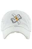 Planet Of The Grapes Flying Money Dad Hat (White)