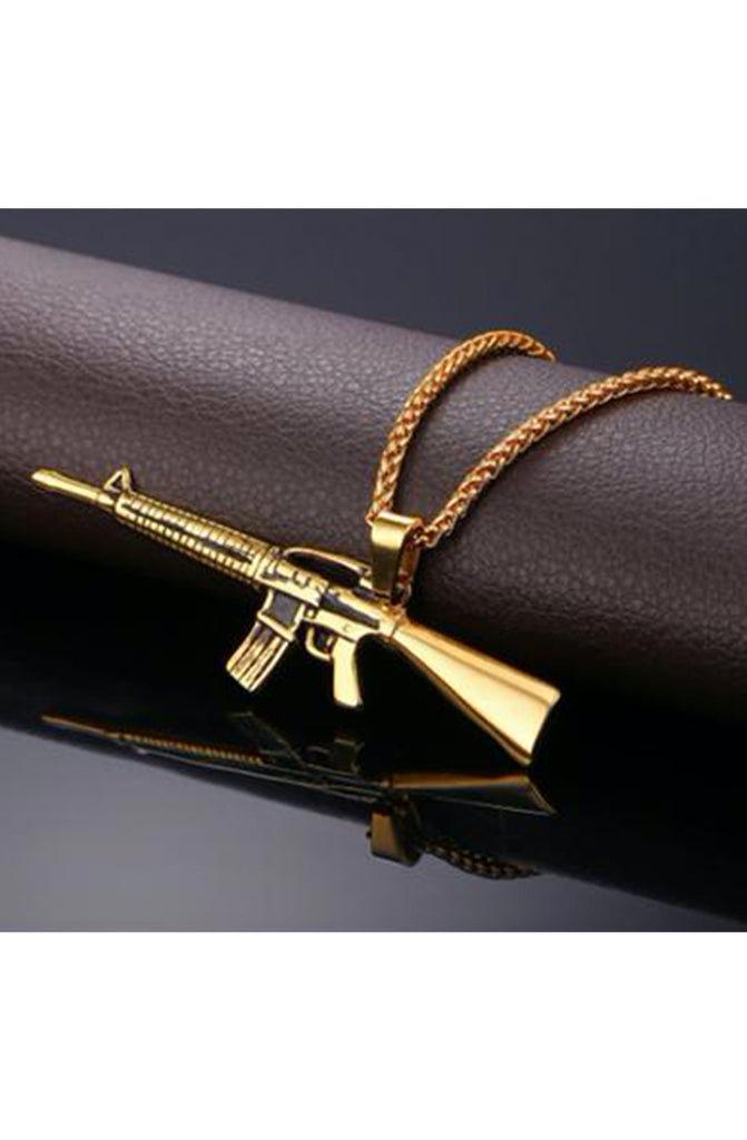 Gold M4 Military Gun Necklace