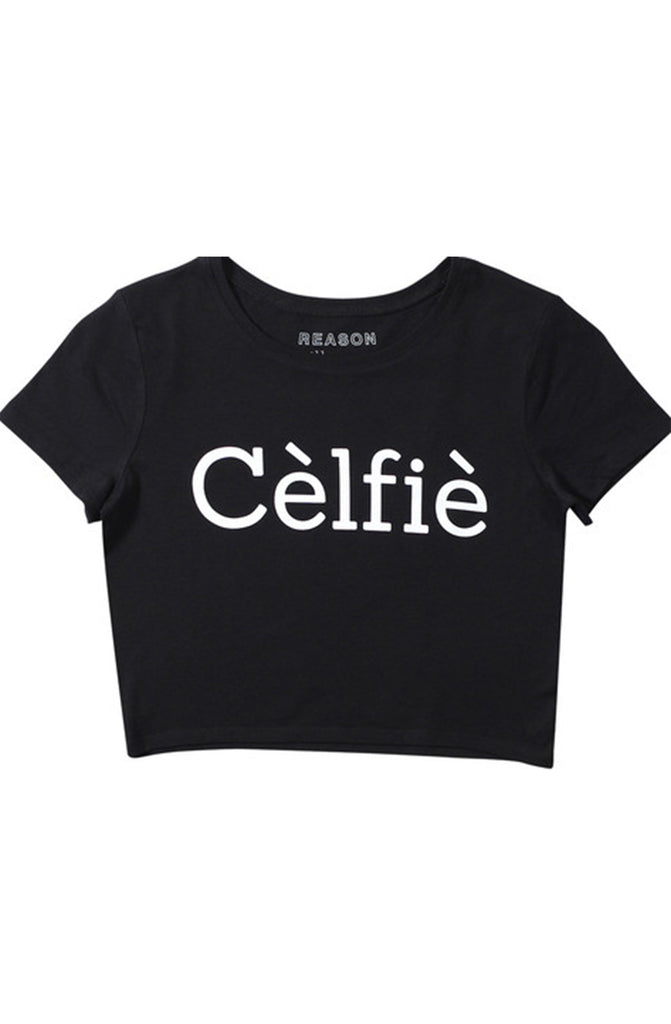 Reason Selfie Black Crop Top