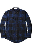 Reason Splatter Plaid Woven Blue Button-Up Flannel