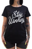 Stay Winning Women's Script Scoop Tee (Black)