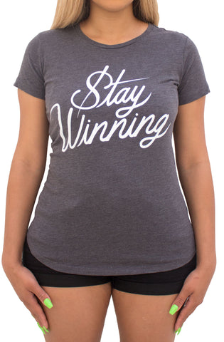Stay Winning Women's Script Scoop Tee (Charcoal Heather)