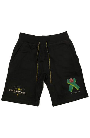 Stay Winning French Water Ribbon Black Shorts