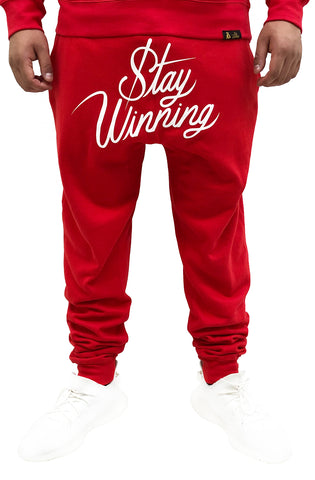 Stay Winning Script Red/White Joggers