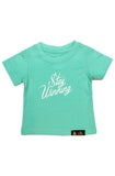 Stay Winning Mint Toddler Script Tee