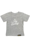 Stay Winning Grey Heather Toddler Script Tee