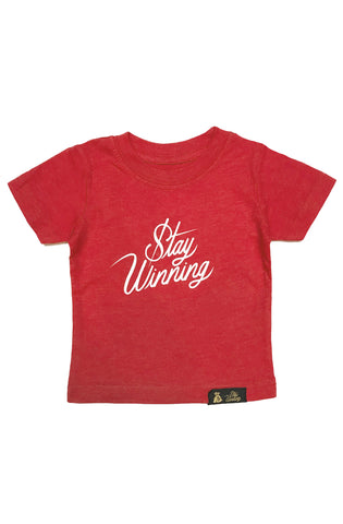 Stay Winning Red Heather Toddler Script Tee