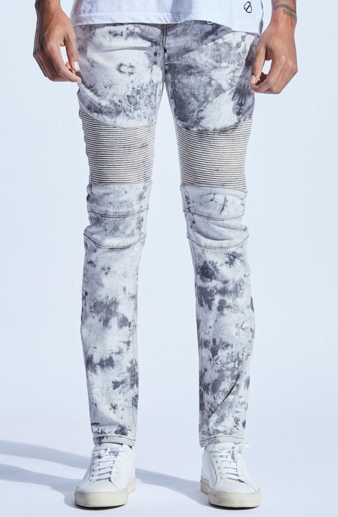 Embellish Vaughn Biker Denim (White/Grey Acid)
