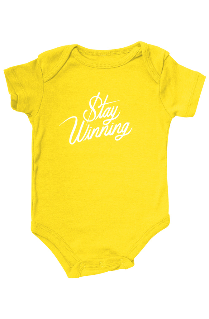 Stay Winning Yellow Infant Onesie