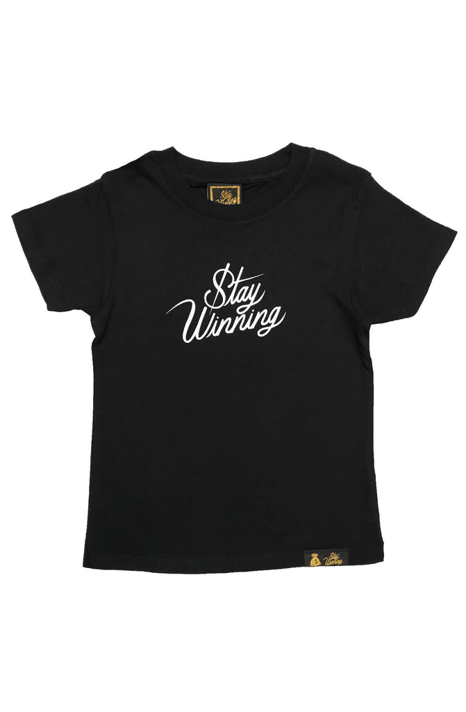 Stay Winning Youth Black Script Tee
