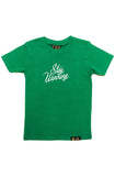 Stay Winning Youth Green Script Tee