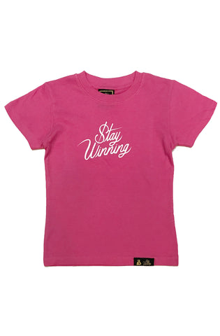 Stay Winning Youth Hot Pink Script Tee