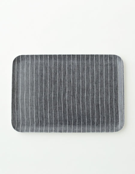 FOGLINENWORK LINEN COATING TRAY L NAVY WHITE STRIPE - Eclectic Cool