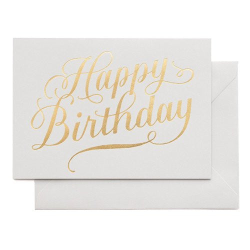 SUGAR PAPER HAPPY BIRTHDAY CALLIGRAPHY GREY CARD