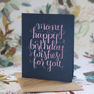 BESPOKE LETTERPRESS GREETING CARD - MANY HAPPY BIRTHDAY