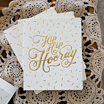 BESPOKE LETTERPRESS GREETING CARD - HIP HIP HOORAY (FOIL)