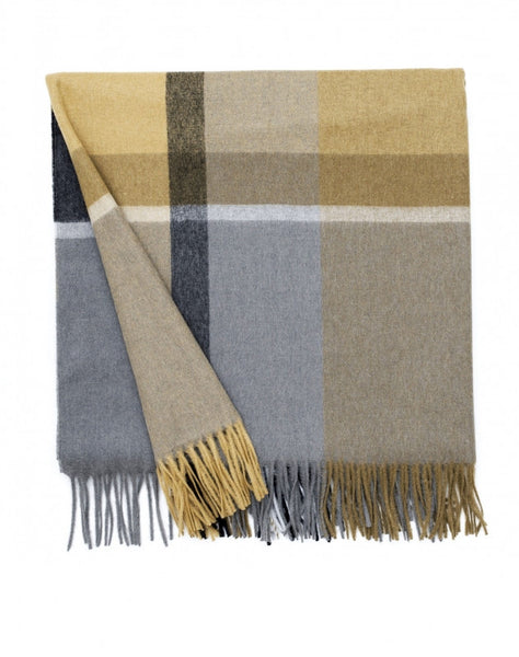 ELVANG MANHATTAN PLAID THROW- OCHRE/SMOKE - Eclectic Cool