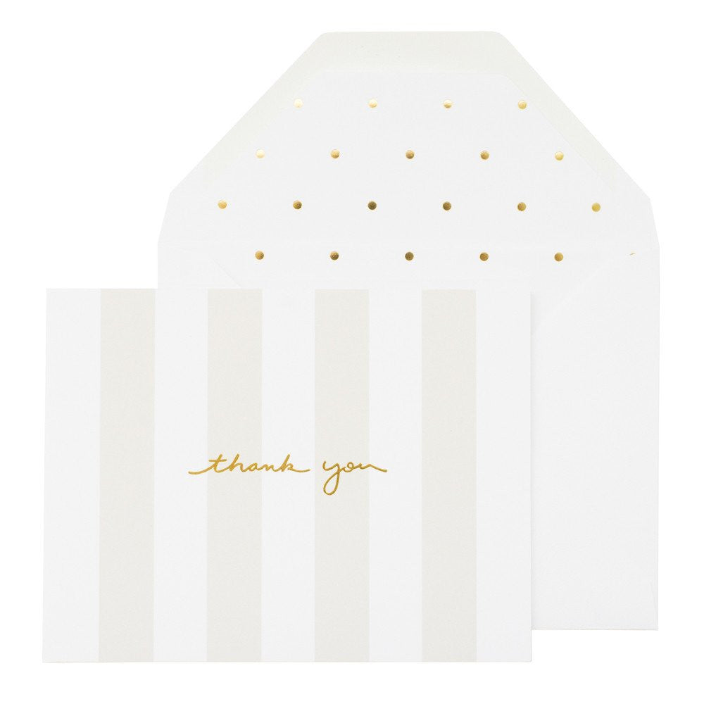 SUGAR PAPER GREY STRIPE THANK YOU CARD
