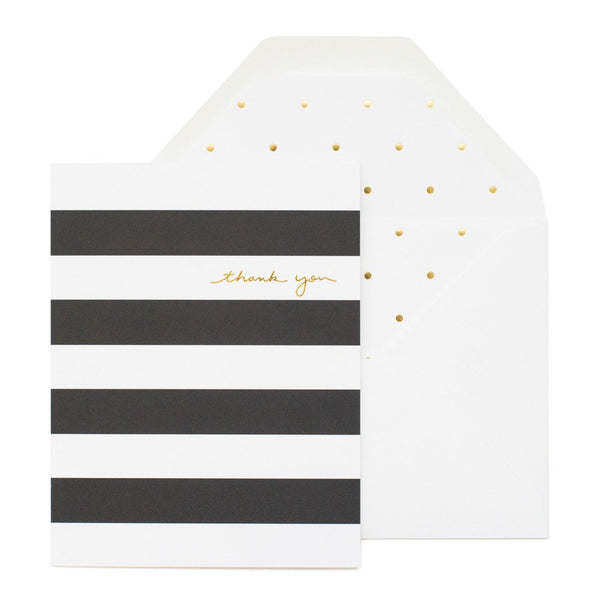 SUGAR PAPER BLACK STRIPE THANK YOU CARD