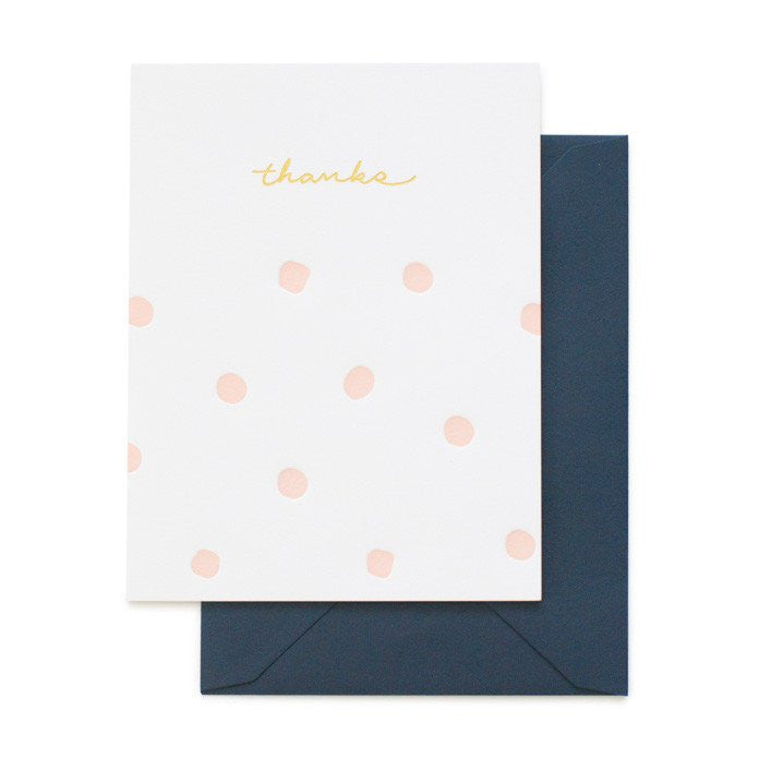 SUGAR PAPER PINK POLKA DOT THANKS CARD