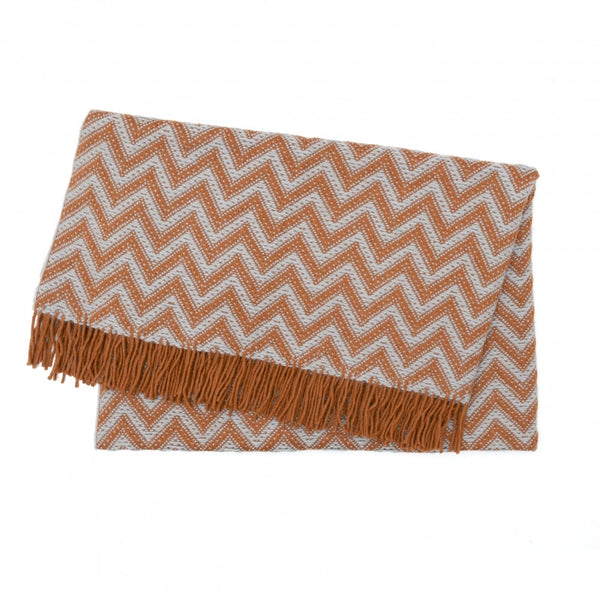 ELVANG ZIGZAG PLAID THROW COPPER/STEEL - Eclectic Cool